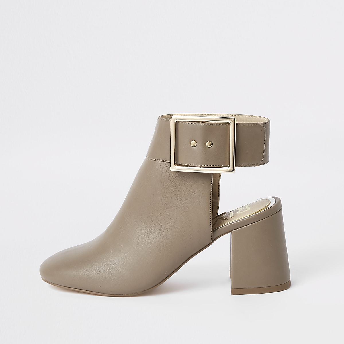 Grey open back shoe boots