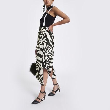 Black zebra print asymmetric midi skirt