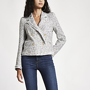 White double-breasted fitted jacket