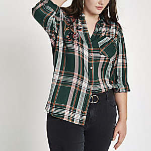 Plus green check embellished shirt