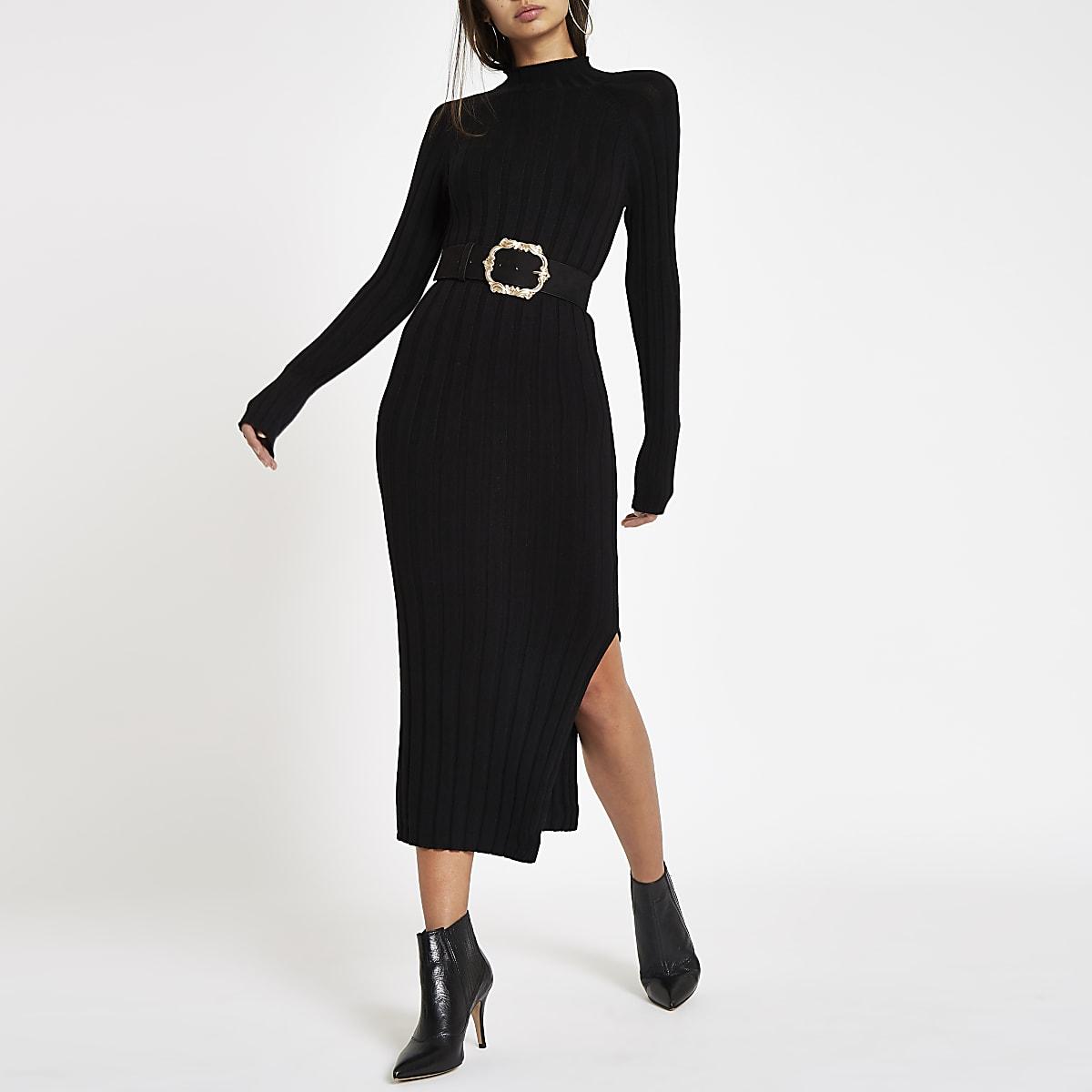 Black ribbed knit roll neck bodycon dress
