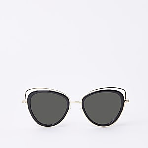 Gold tone cat eye cut out sunglasses
