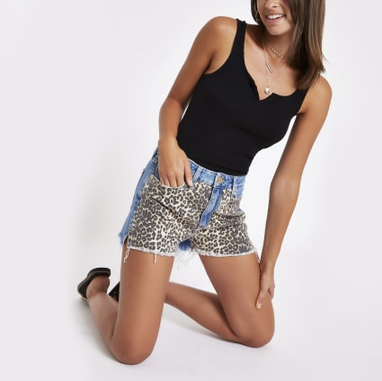 Blue denim high rise leopard print hot pants