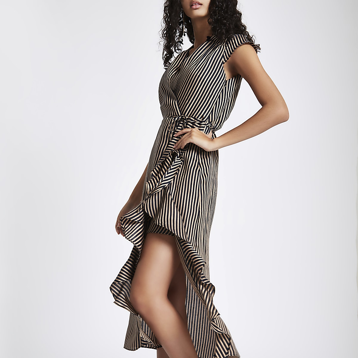Brown stripe frill tie waist midi dress
