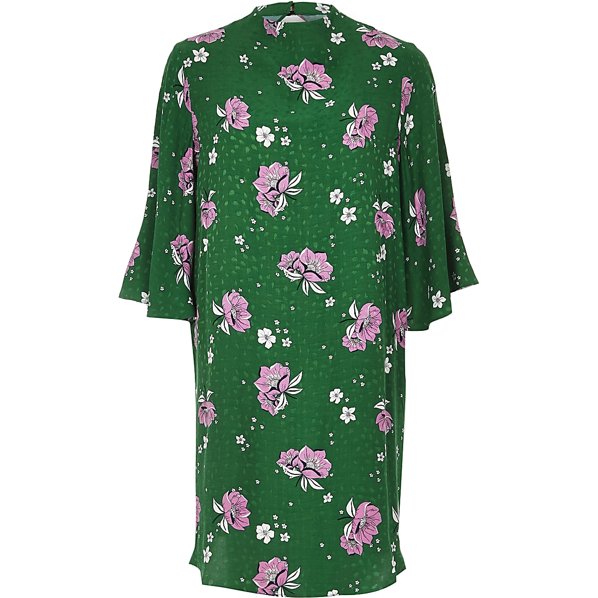 d848db1eae74 Green floral high neck swing dress - Swing Dresses - Dresses - women