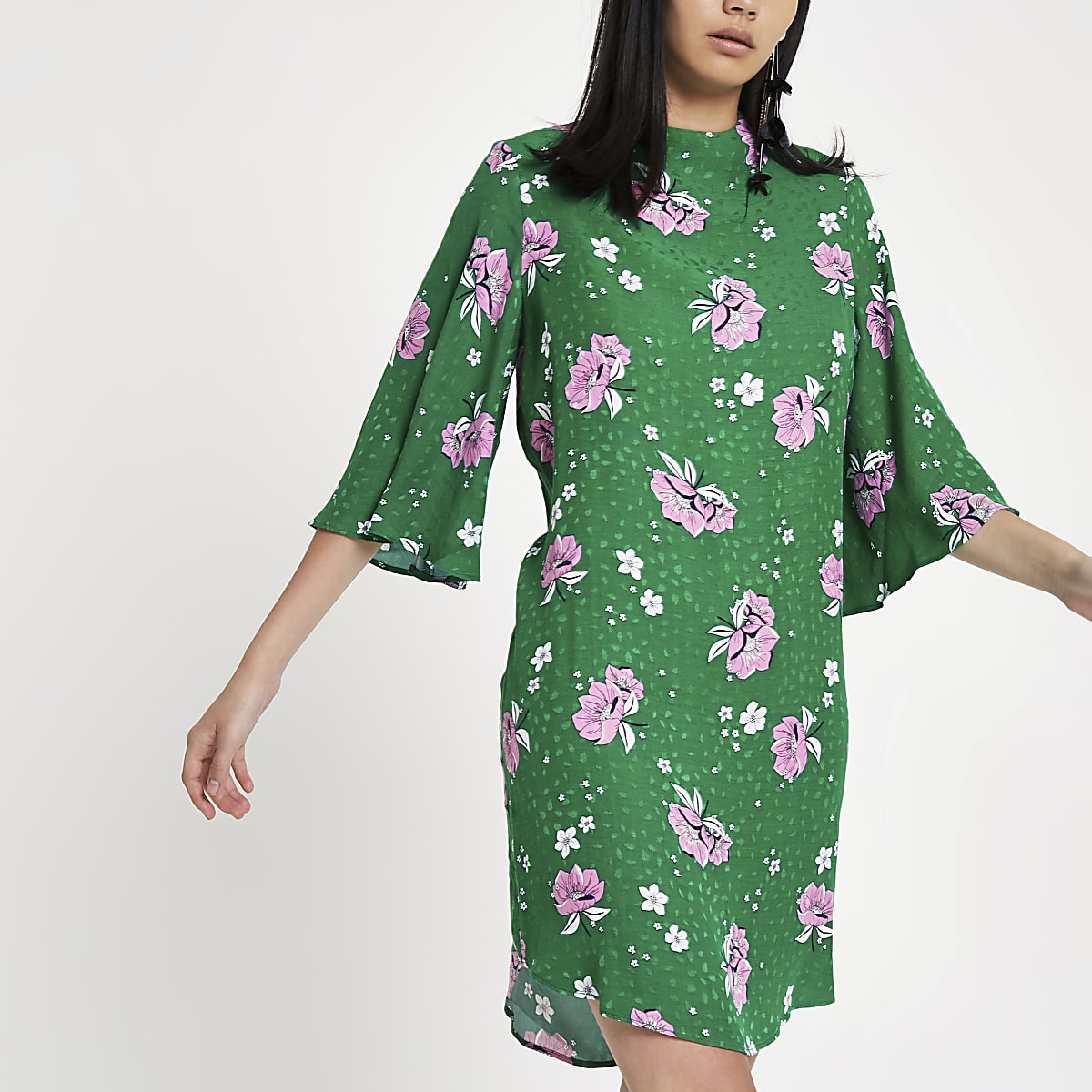 Green floral high neck swing dress