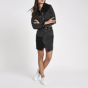 Black cord insert high rise mini denim skirt