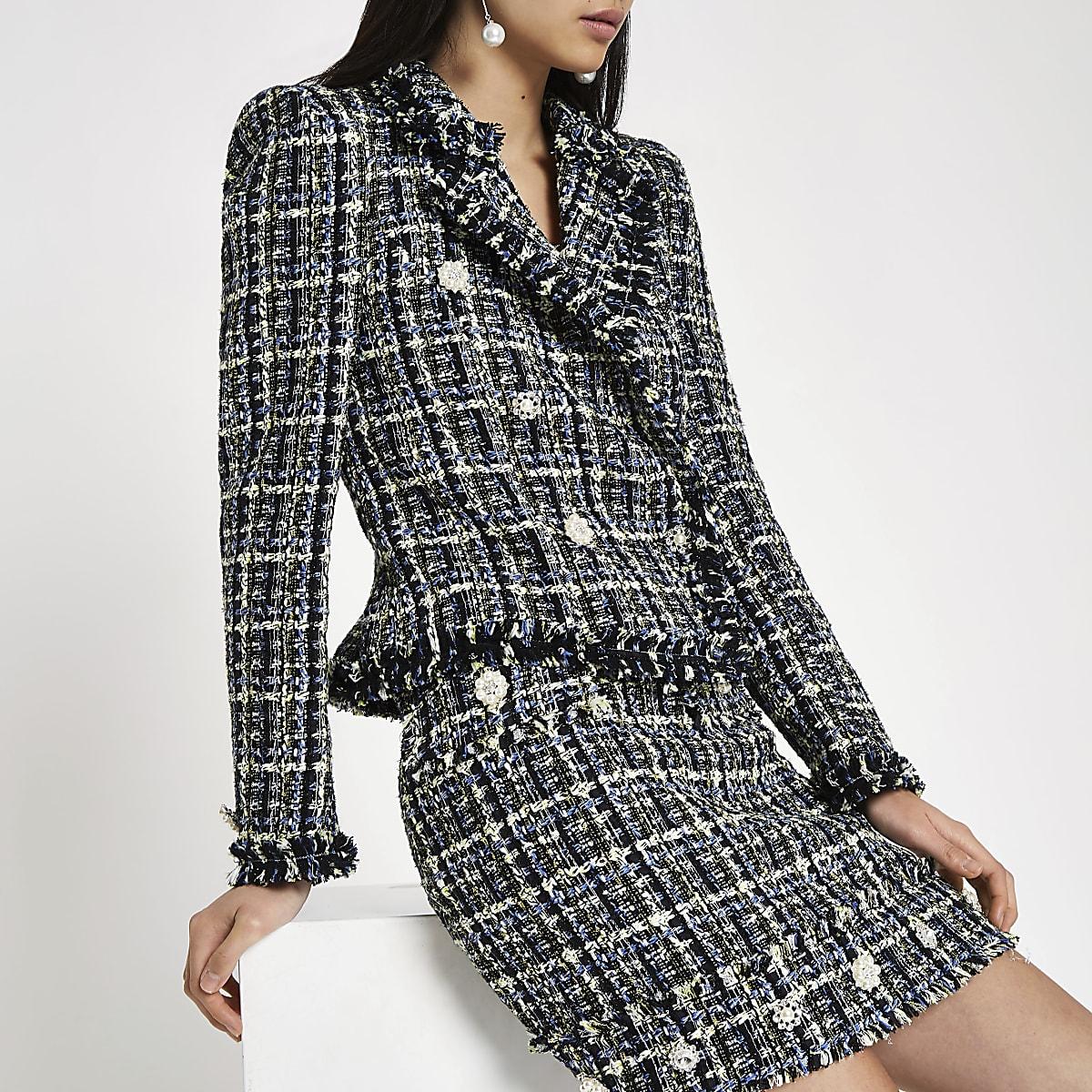5e215540 Blue tweed double-breasted jacket - Blazers - Coats & Jackets - women