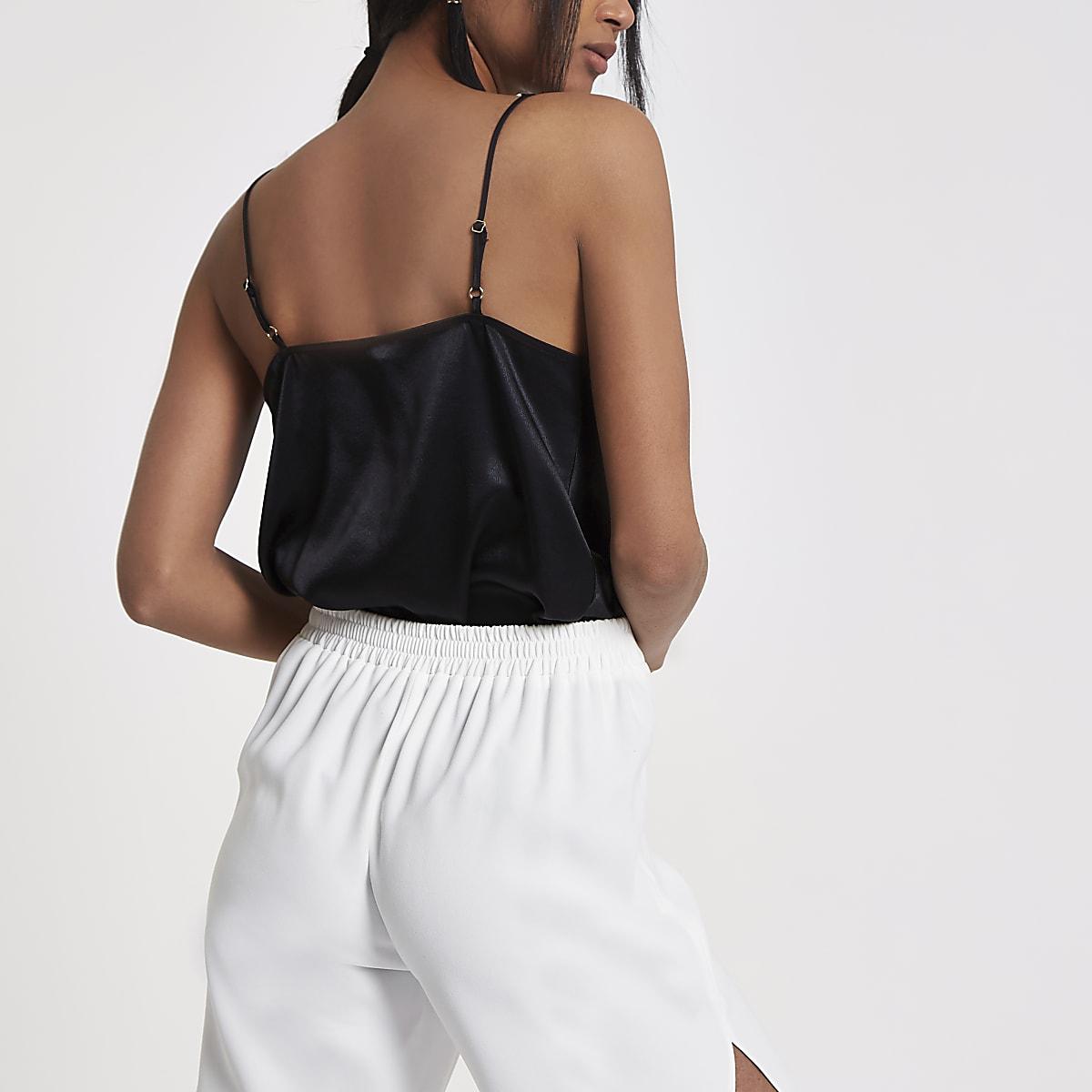 283eb3a728c86a Black cowl neck cami top - Cami   Sleeveless Tops - Tops - women
