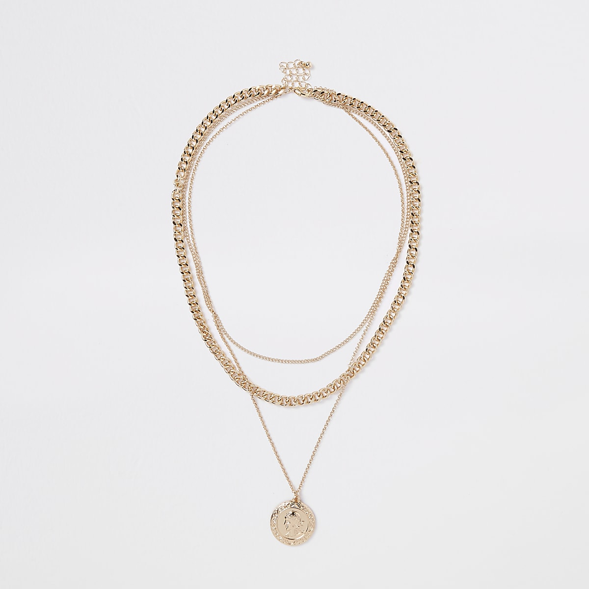 Gold color pendant chain layered necklace