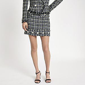 Blue tweed embellished button mini skirt