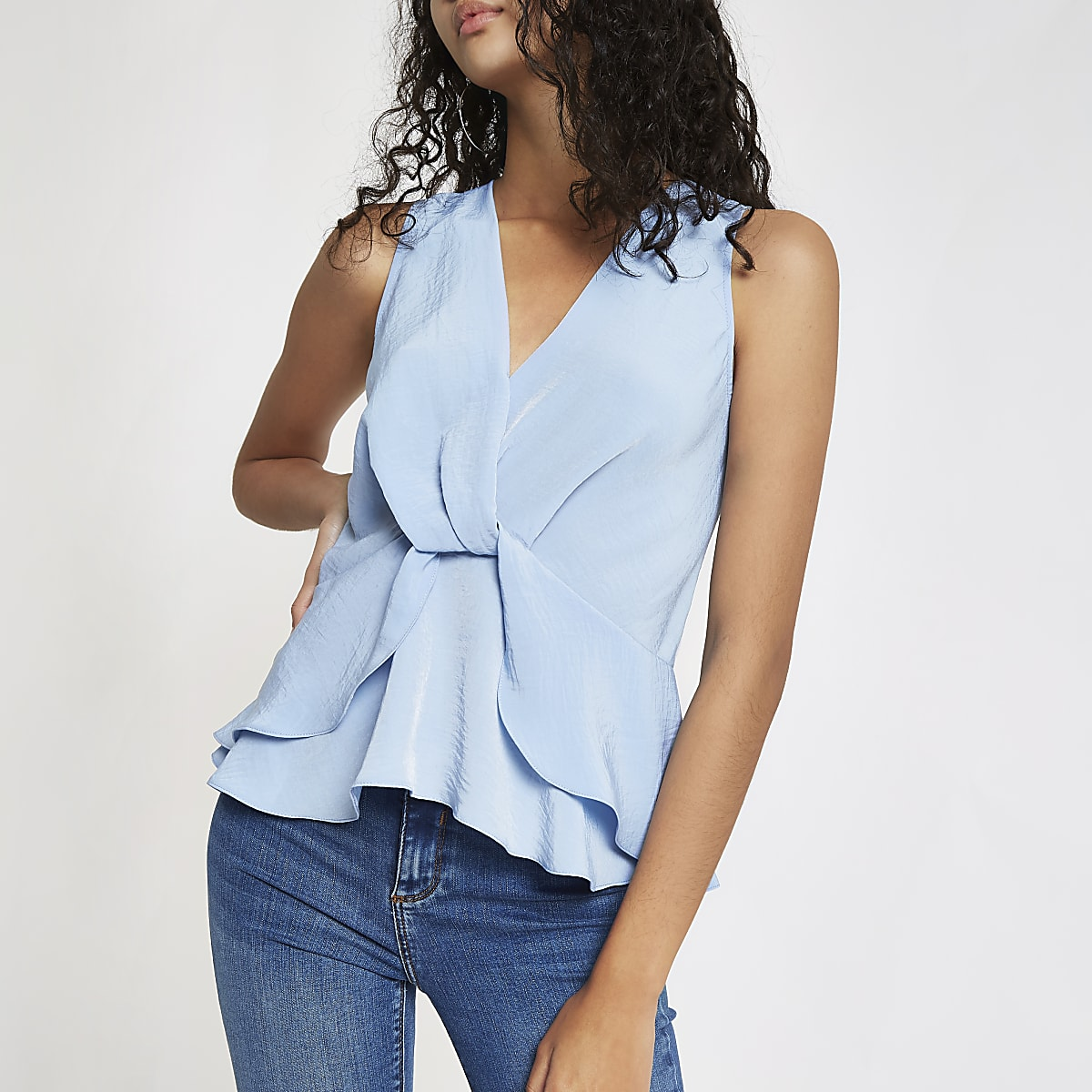 Light blue twist front frill hem top
