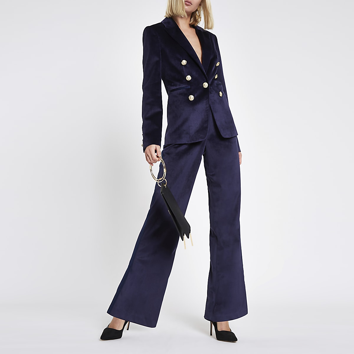 Navy velvet slim satin tape wide leg trousers