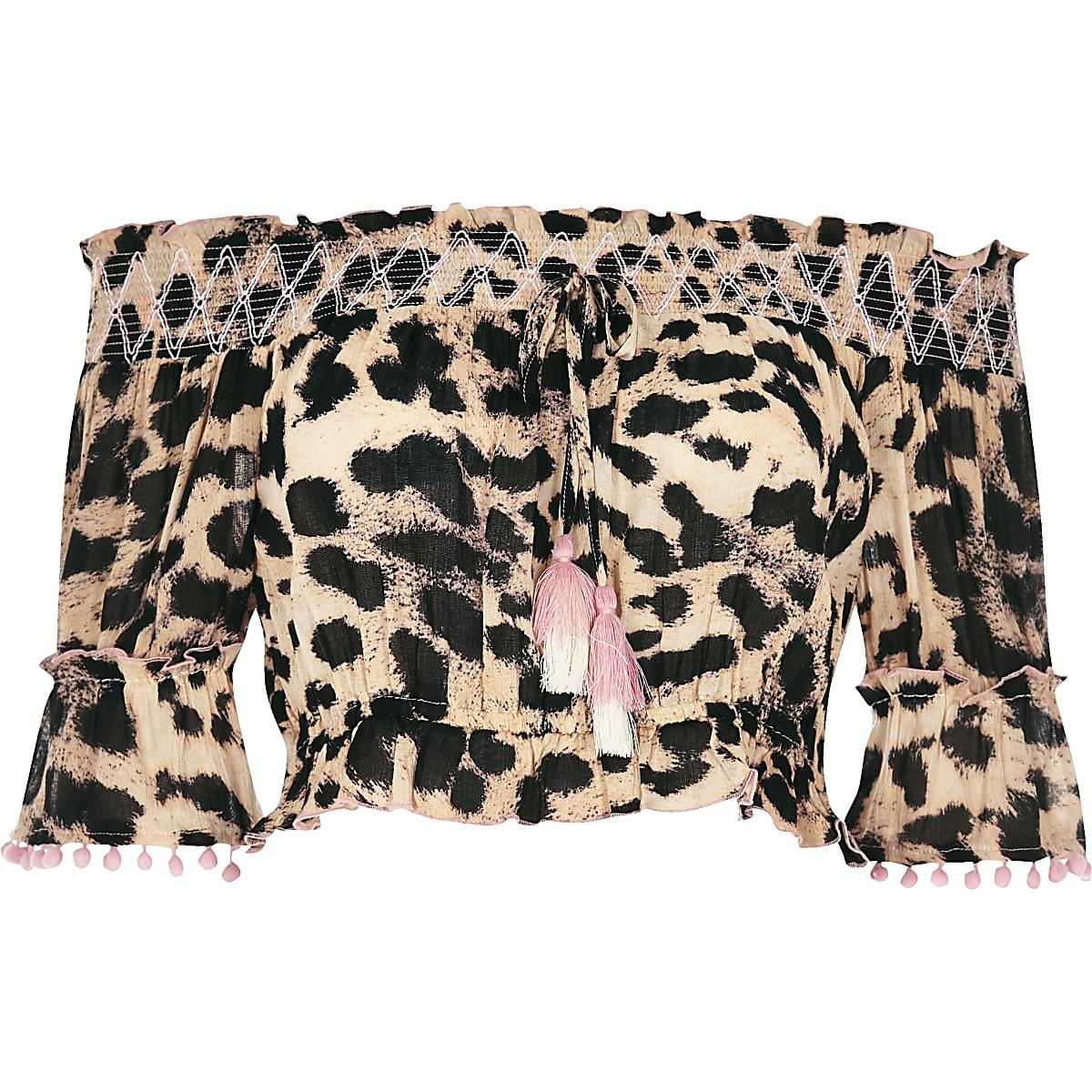 c58657861ea7cb Brown leopard print bardot beach crop top - Kaftans   Beach Cover ...