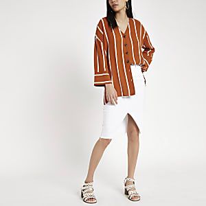 Brown stripe button front bar back blouse