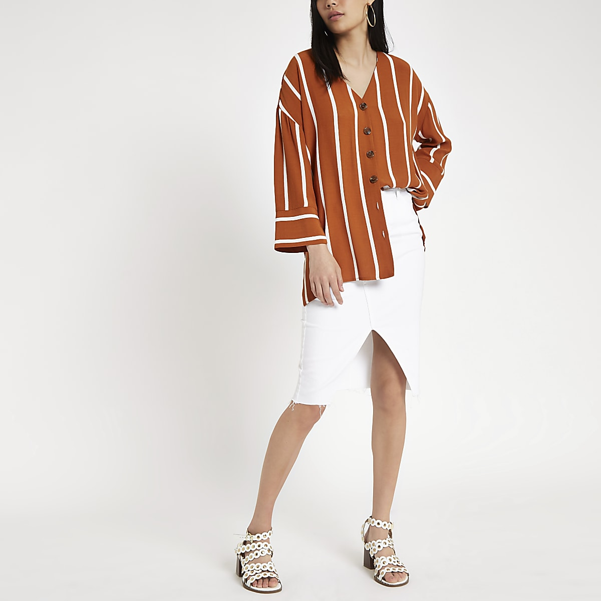 Brown stripe button front bar back blouse