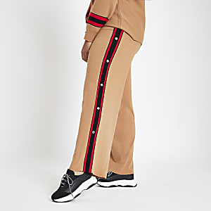 Plus brown knit popper side joggers