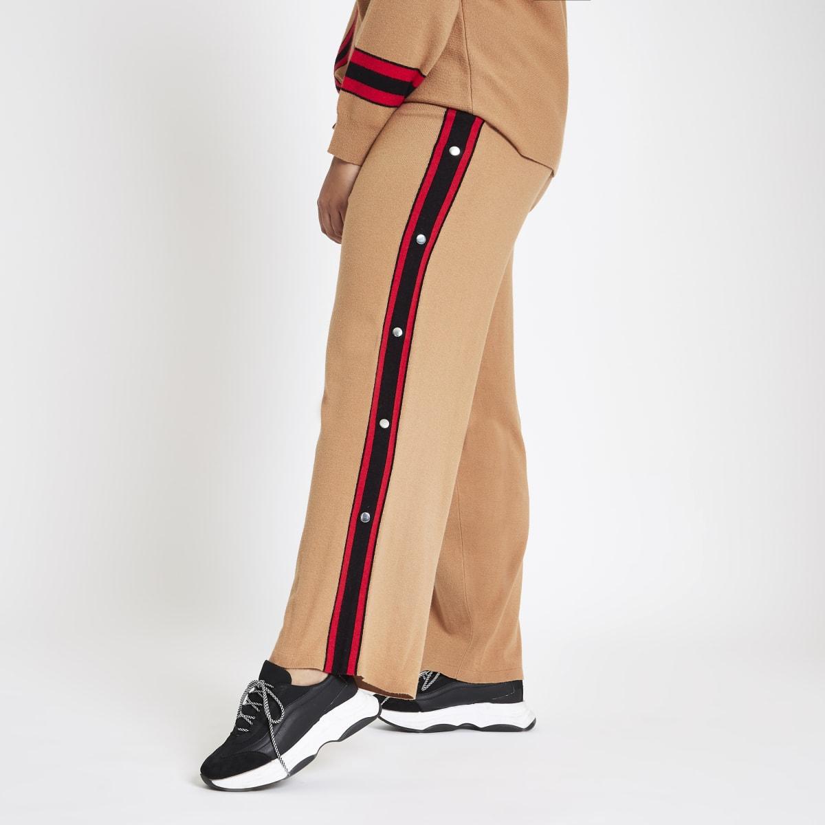 Plus brown knit popper side joggers