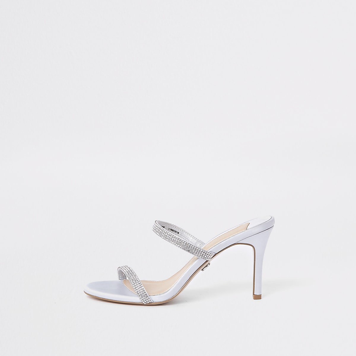 Light grey barely there slip on stiletto mule