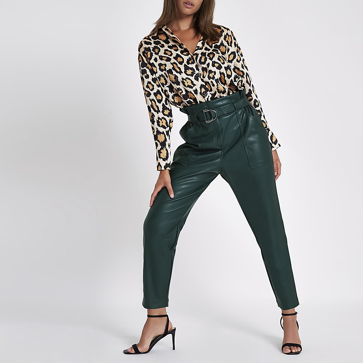 6bfb8dd6e6a11 Dark green paperbag tapered trousers - Tapered Trousers - Trousers - women