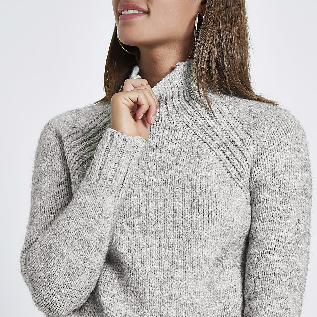 Grey marl high neck knitted jumper