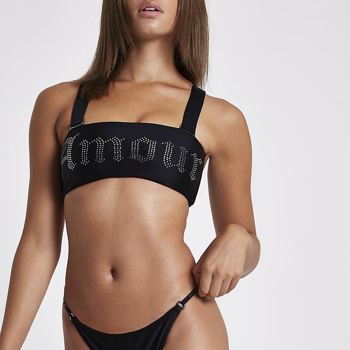 """Schwarzes Bikinioberteil """"amour"""""""