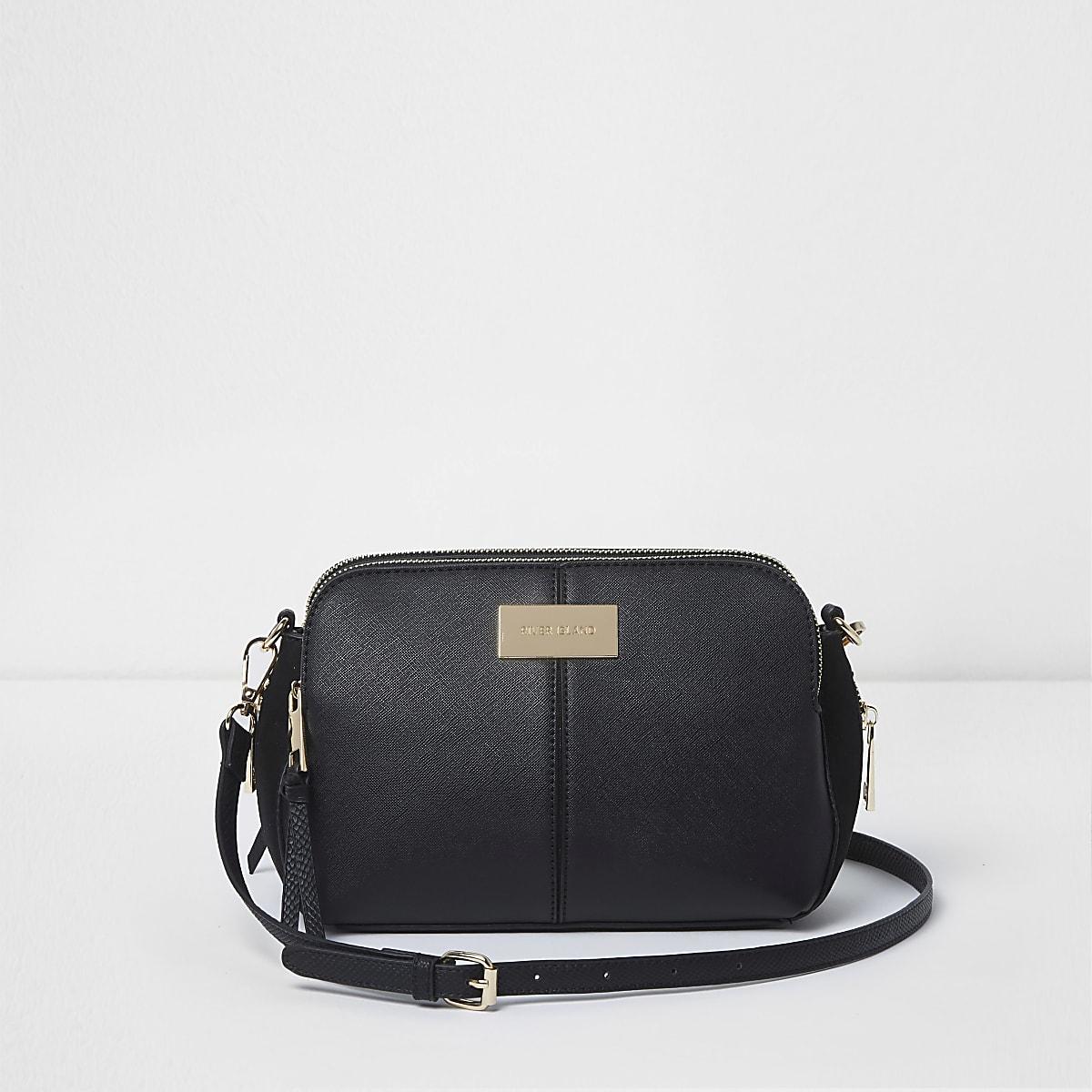 Black triple compartment cross body bag