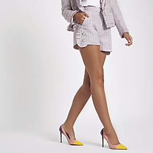 Pink tweed diamante pearl embellished shorts