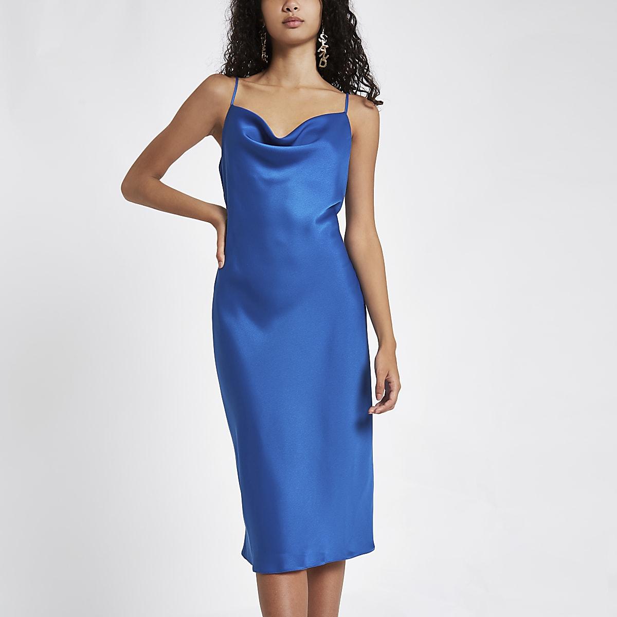 73bc8a331 Blue satin cowl neck slip dress - Slip & Cami Dresses - Dresses - women