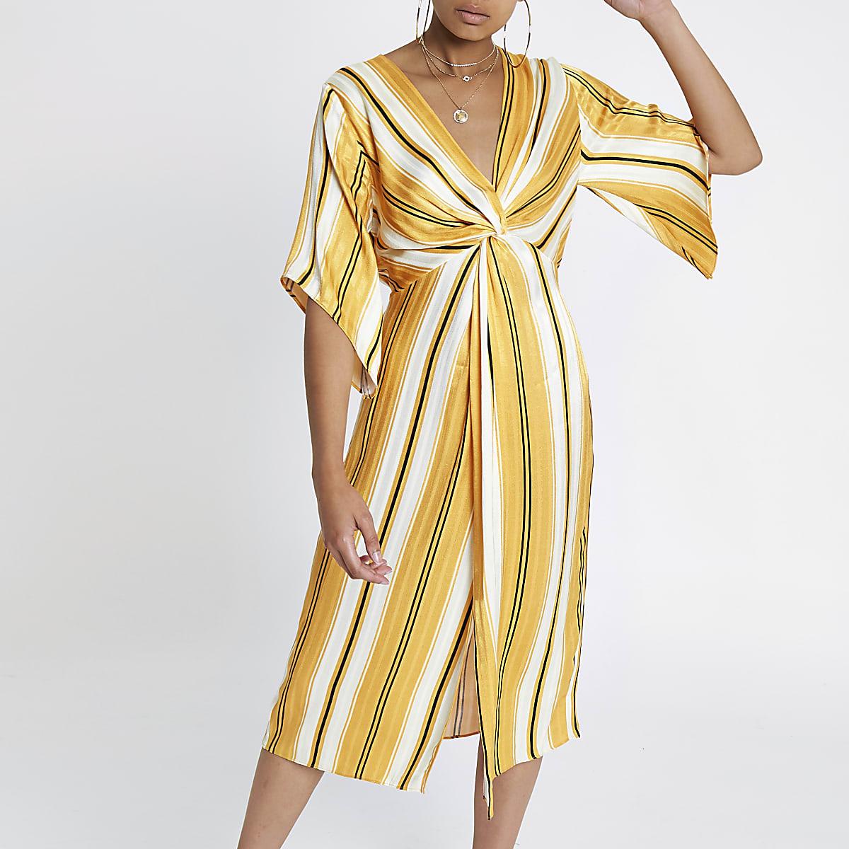 12f7cd45f95a Yellow stripe twist front maxi dress - Swing Dresses - Dresses - women