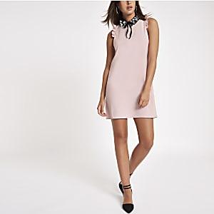 Pink embellished collar mini dress