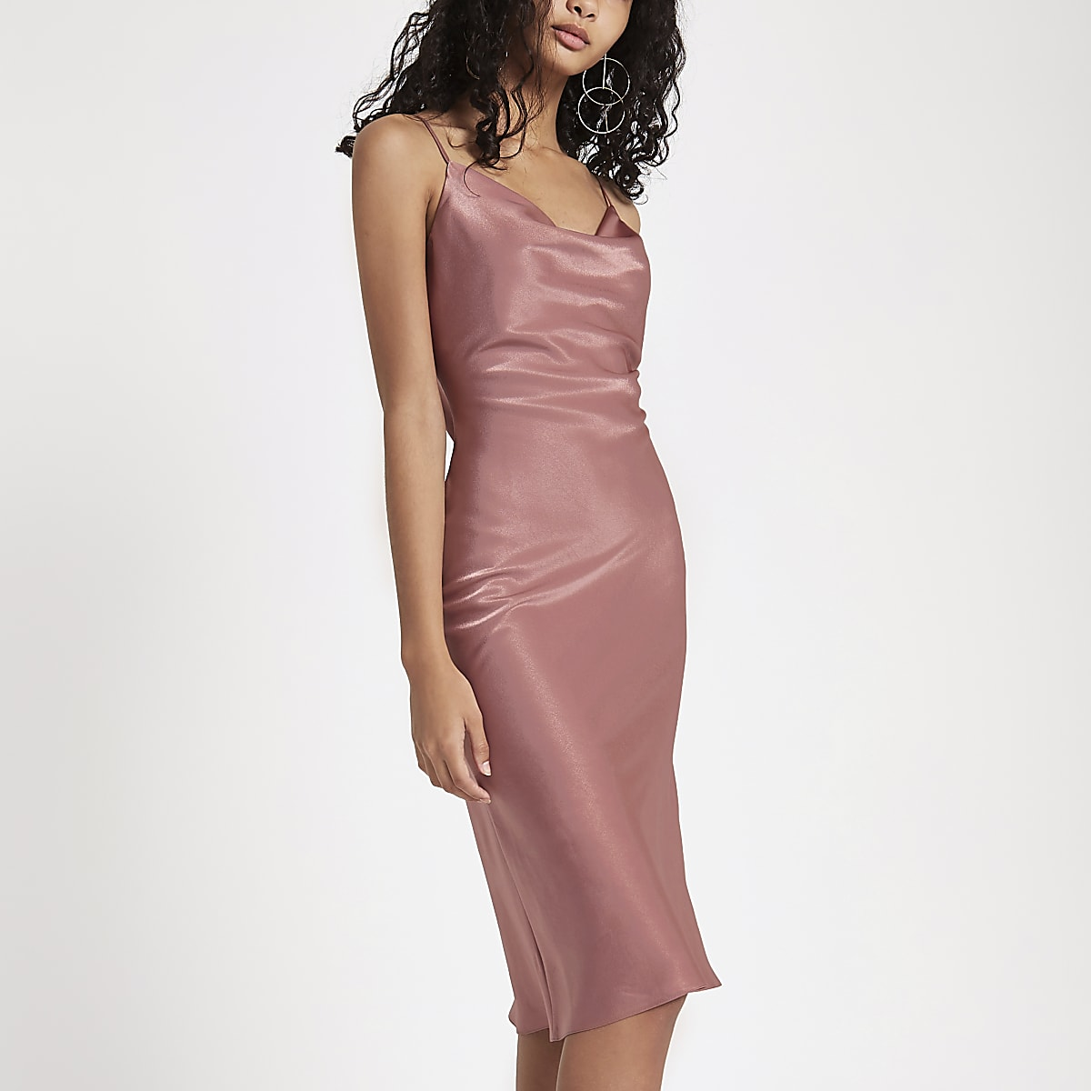 8a5b4e9bbf382 Pink cowl neck slip dress - Slip & Cami Dresses - Dresses - women