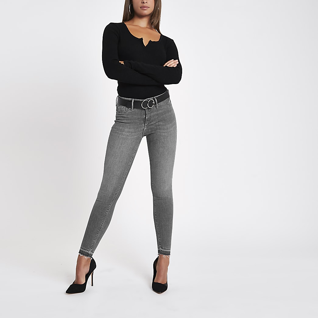 Grey Molly rip hem super skinny jeans