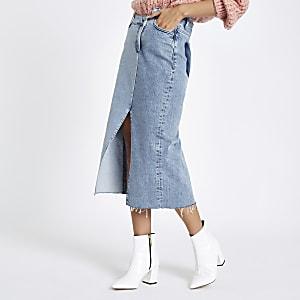 Denim asymmetric waistband longline skirt