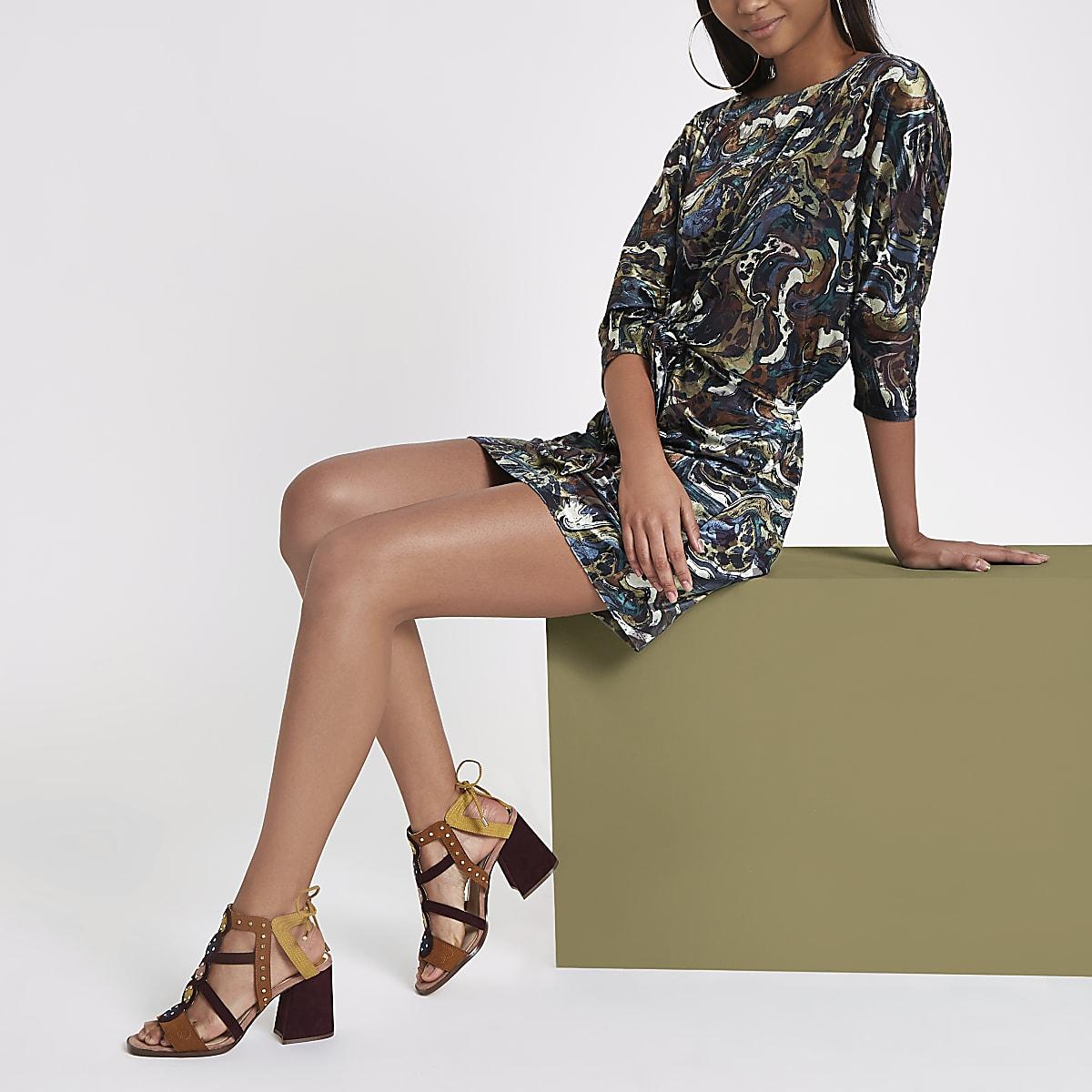 RI Studio khaki velvet tie front mini dress