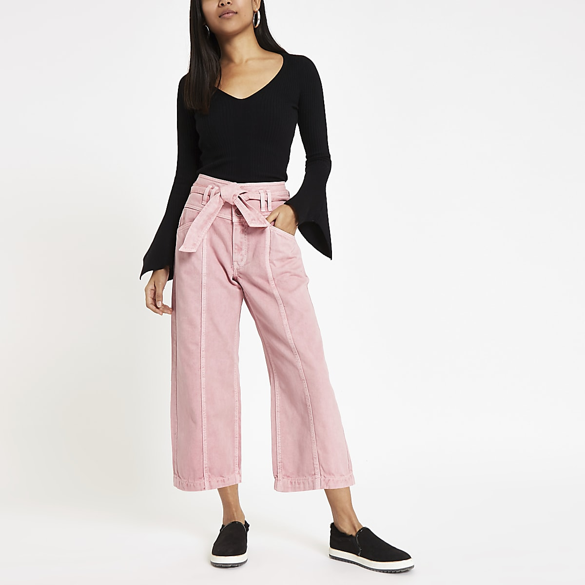 Petite pink belted denim culottes