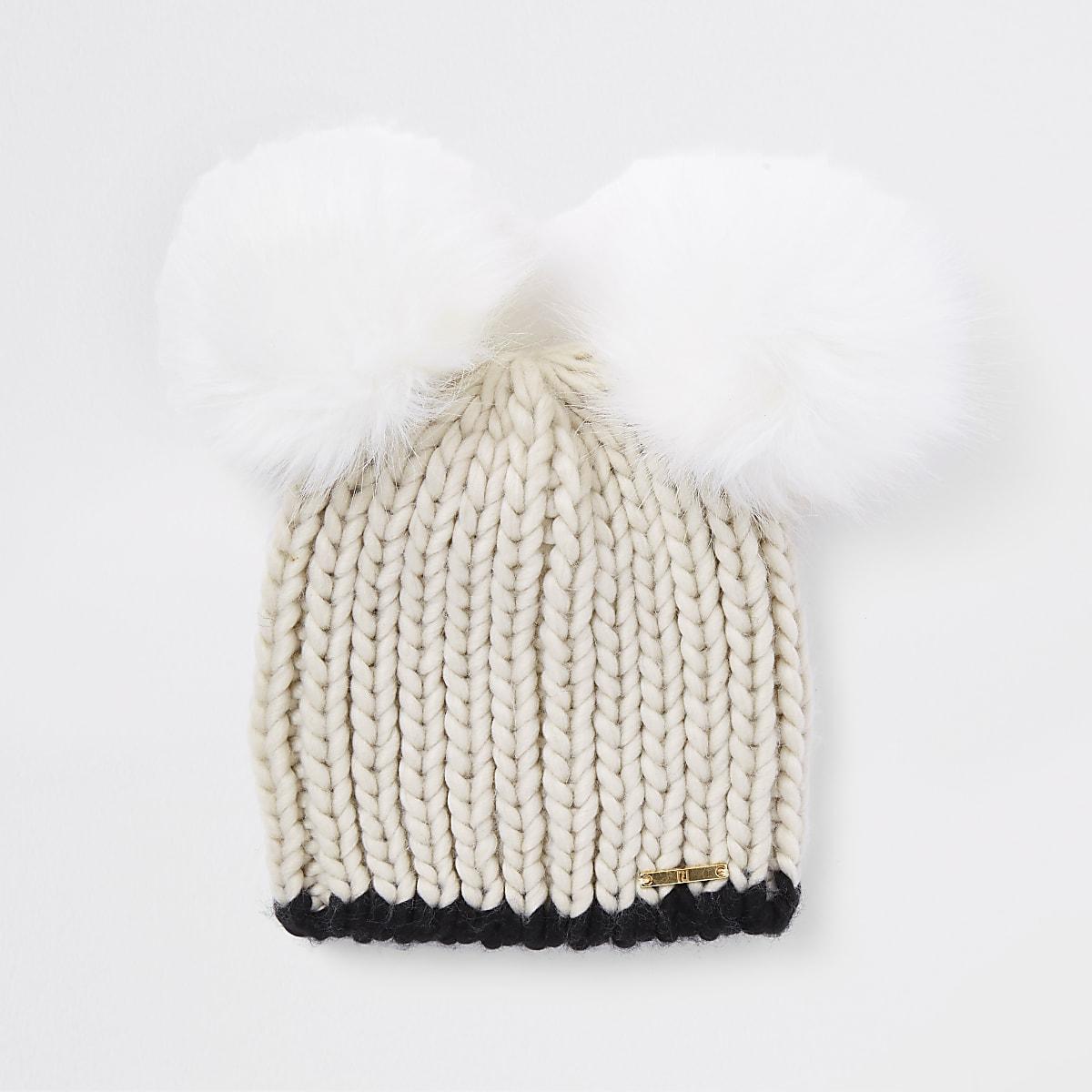 842fab0fcfb Cream faux fur double pom pom beanie - Hats - Accessories - women