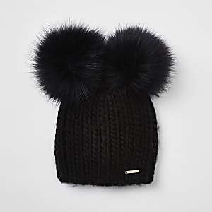 Black faux fur double pom pom beanie