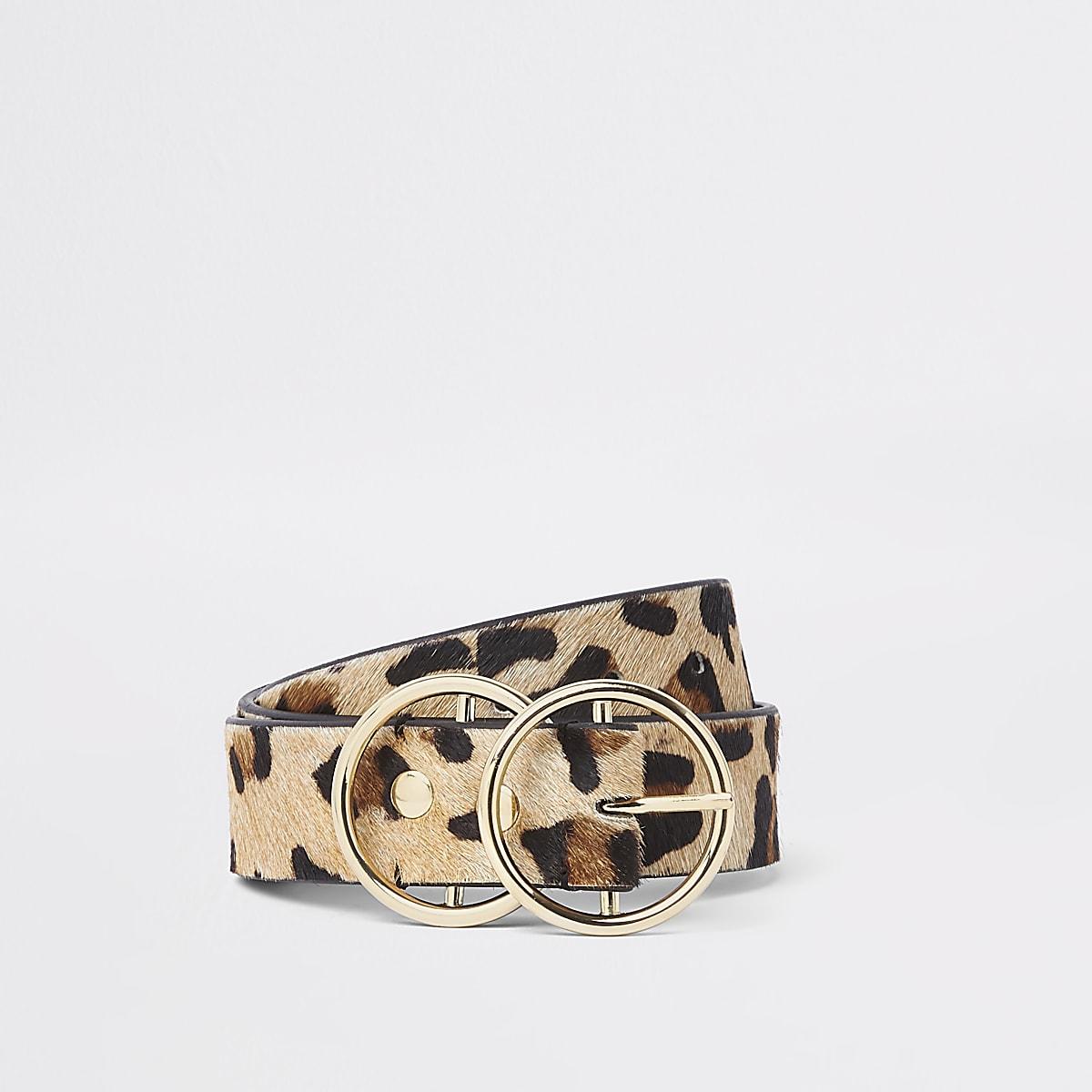 Beige harige riem met luipaardprint en dubbele ring