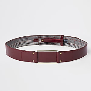 Dark red square buckle waist belt