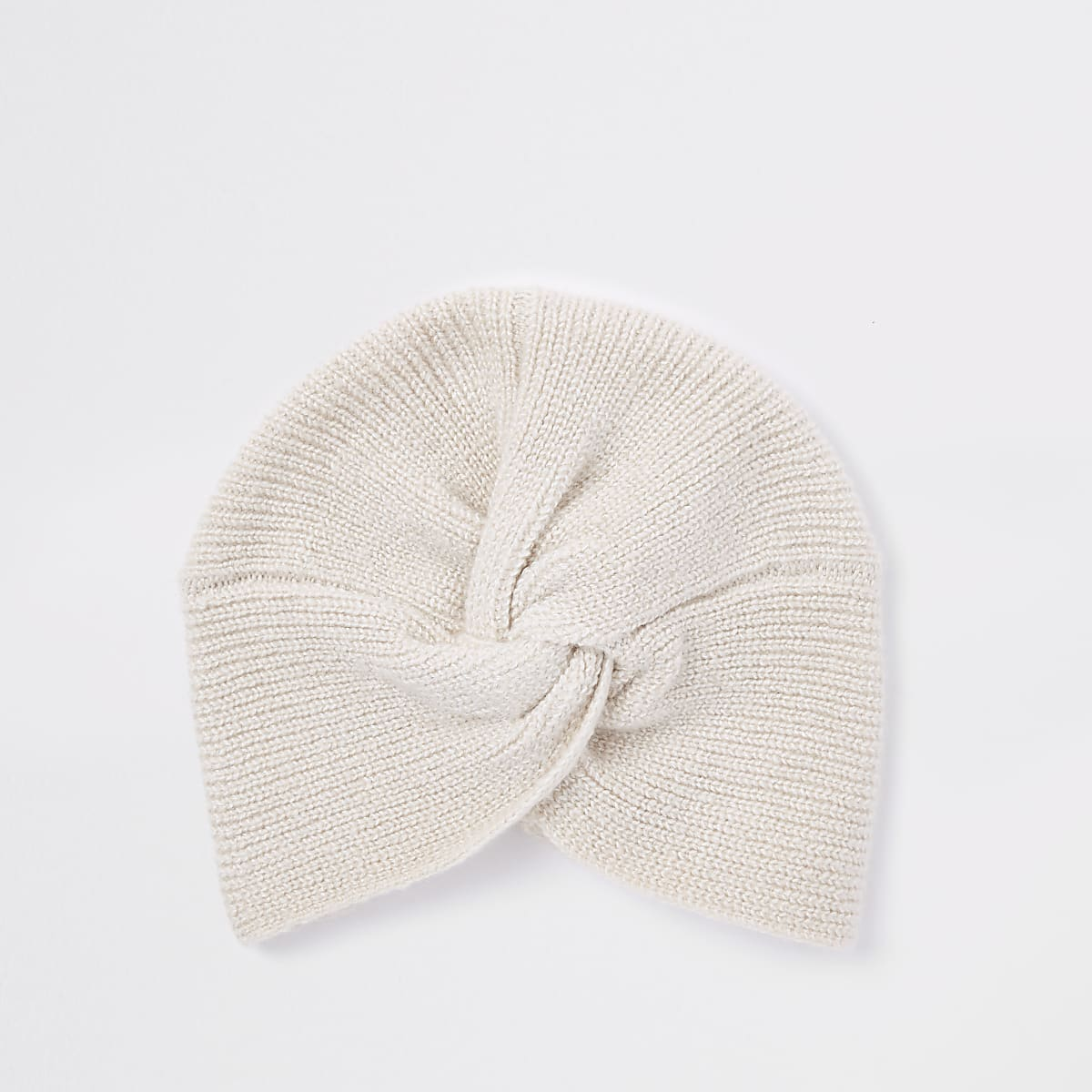 Beige knit twist turban headband