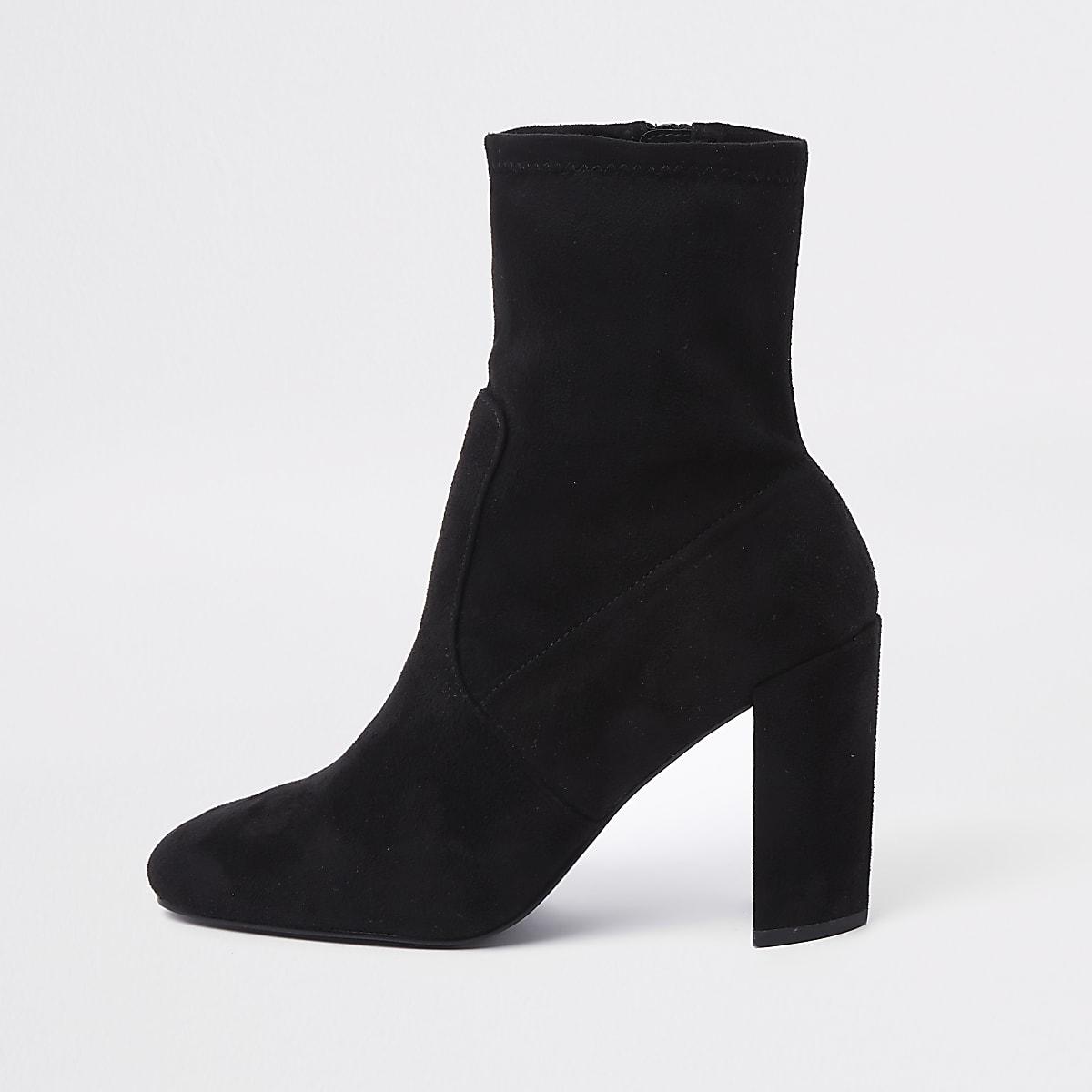 Black faux suede block heel sock boots