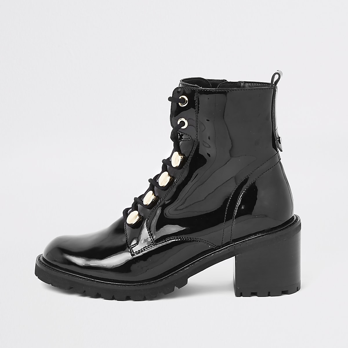 Black patent lace-up chunky boots
