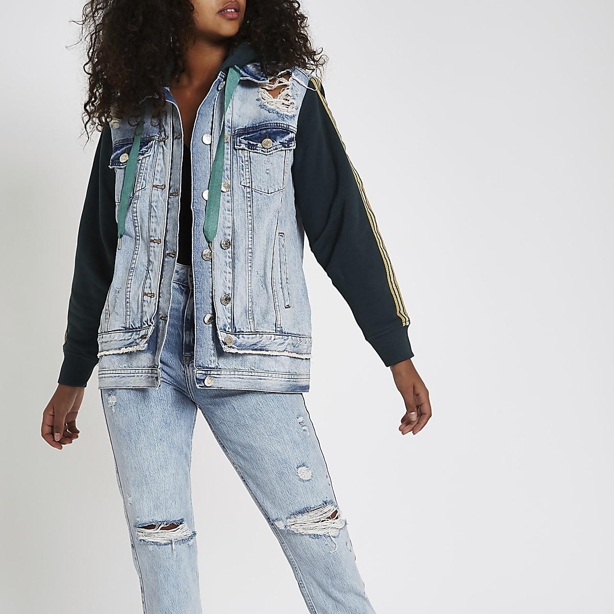 Mid blue jersey sleeve tape side denim jacket