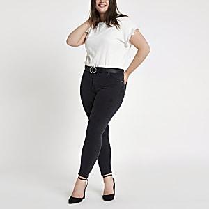 Plus black wash Alannah mid rise skinny jeans