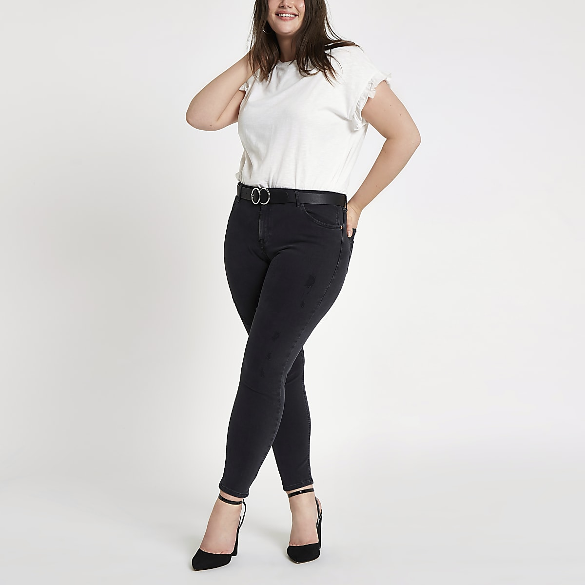 b3d66d4998b6 Plus black wash Alannah mid rise skinny jeans - Straight & Slim Jeans -  Jeans - women