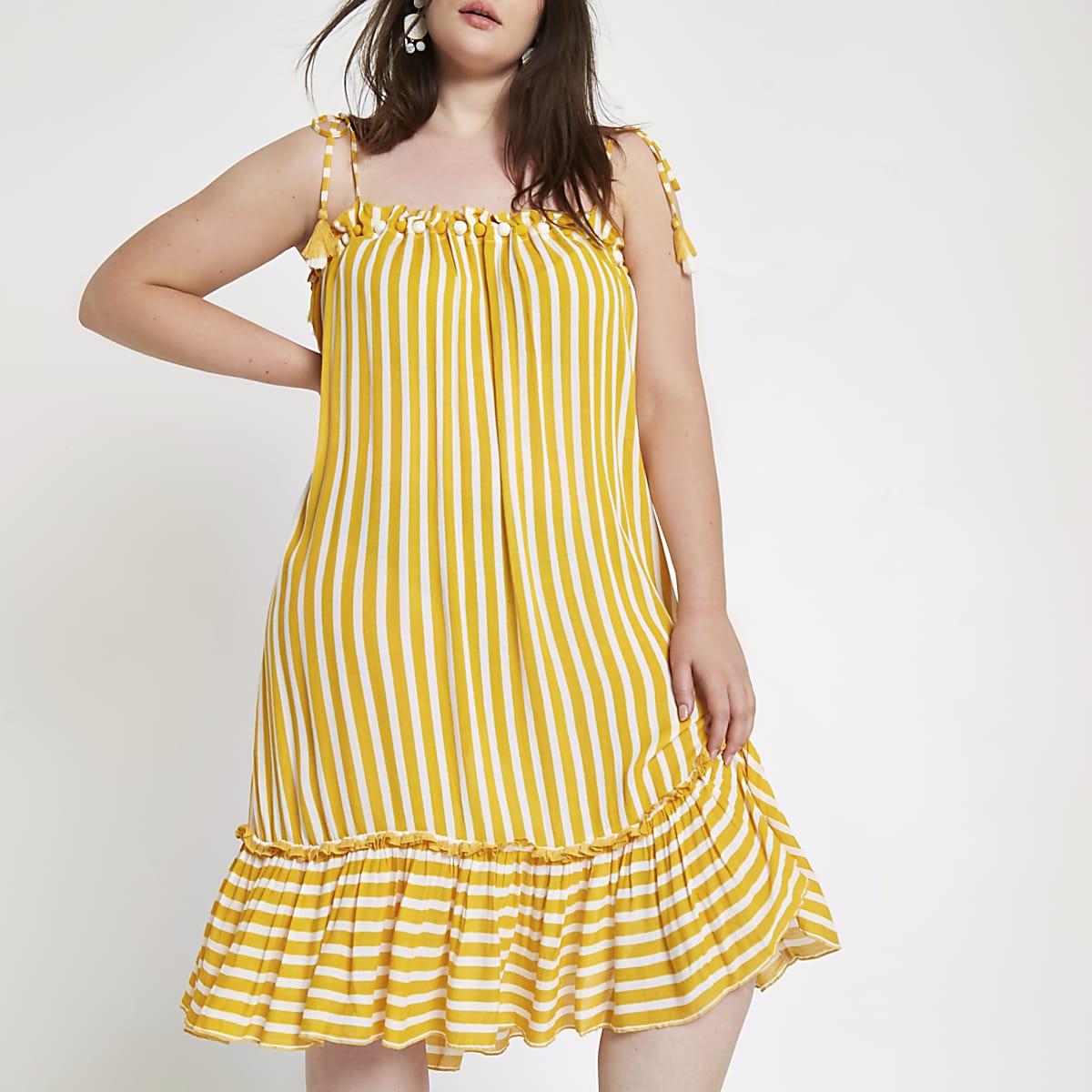 Plus yellow stripe pom pom beach dress