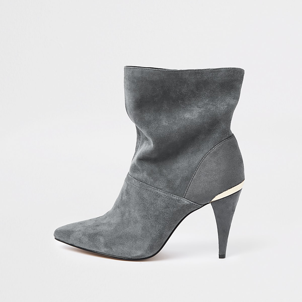 new styles 27fd0 9870b Grey wide fit suede slouch cone heel boots