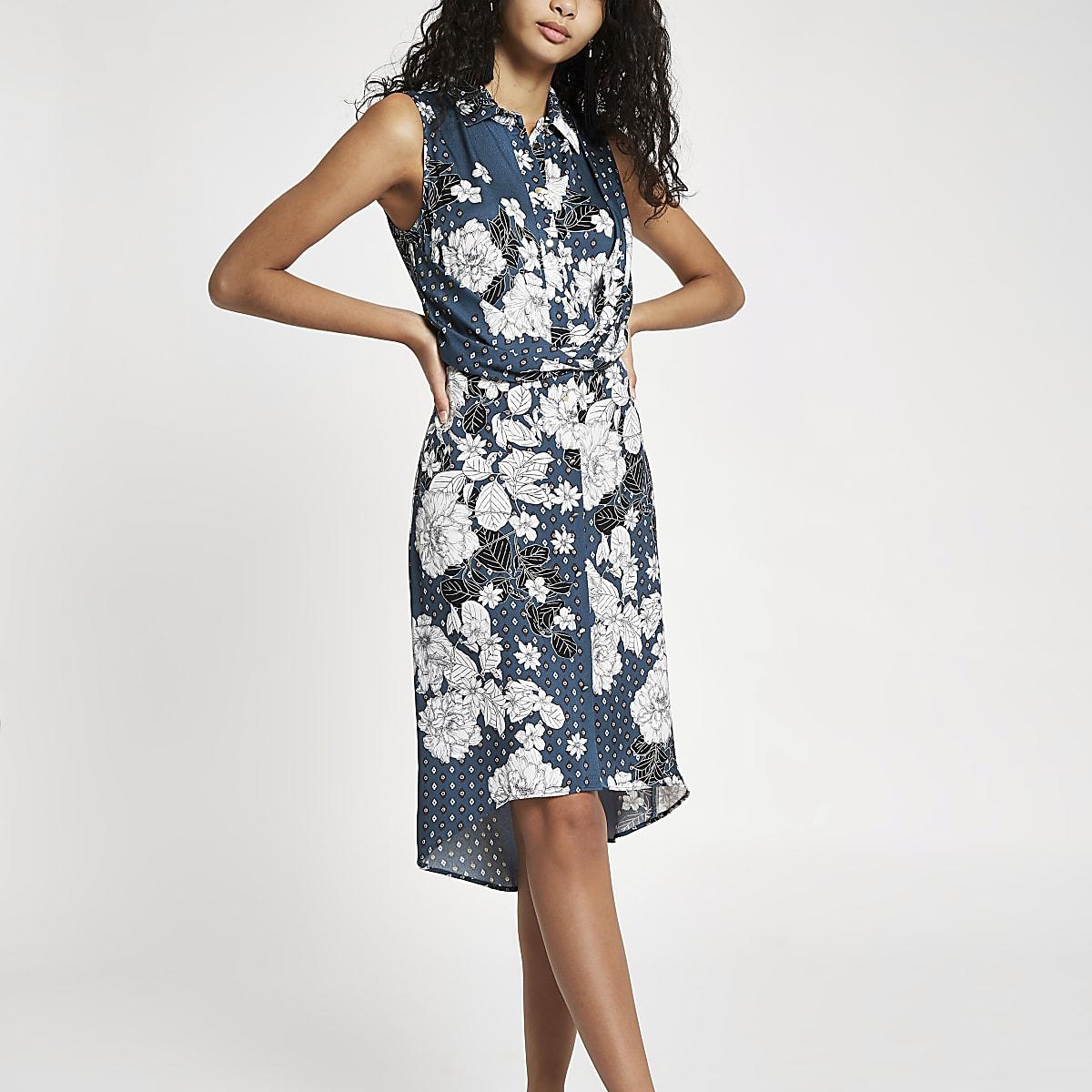 Blue floral twist front midi shirt dress