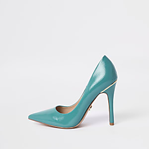 Light blue patent court shoes